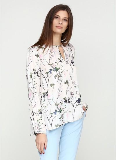 Бежевая цветочной расцветки блузка с длинным рукавом Frontrow демисезонная