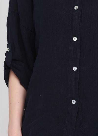 Сорочка Made in Italy однотонна темно-синя кежуал льон