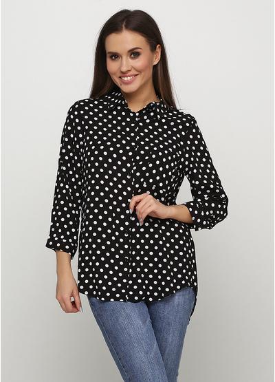 Черная в горошек блузка Viola & C демисезонная