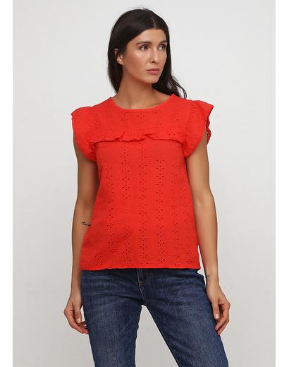 Красная однотонная блузка Made in Italy летняя