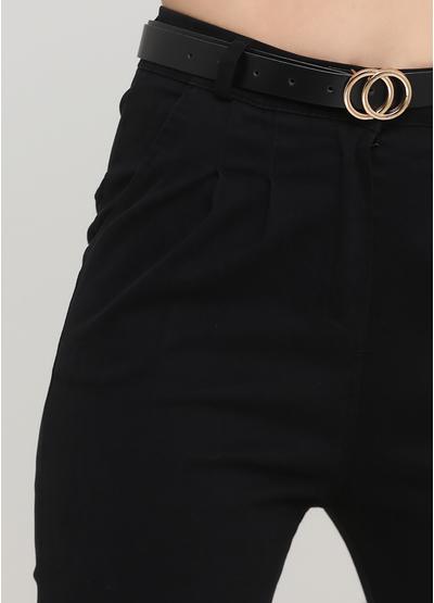 Штани Made in Italy вкорочені, завужені однотонні чорні кежуали бавовна