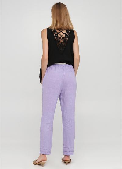 Лиловые кэжуал летние прямые брюки Made in Italy