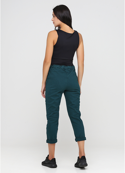Зеленые демисезонные зауженные брюки Made in Italy