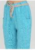 Бирюзовые кэжуал летние прямые, укороченные брюки Made in Italy