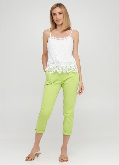 Салатовые кэжуал летние укороченные, зауженные брюки Moda Italia