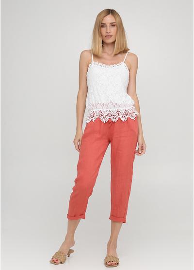 Коралловые кэжуал летние укороченные, зауженные брюки Made in Italy