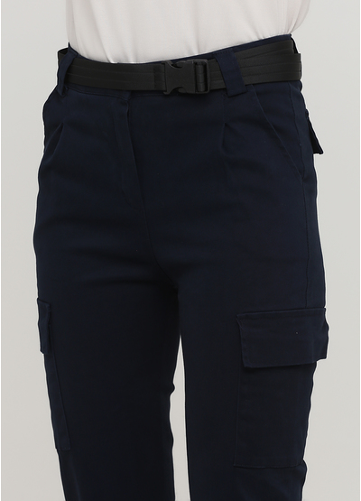 Штани Made in Italy вкорочені, карго однотонні темно-сині кежуали бавовна