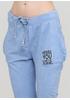 Штани Made in Italy завужені однотонні блакитні кежуали трикотаж, бавовна