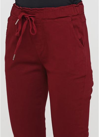 Бордовые демисезонные зауженные брюки Made in Italy