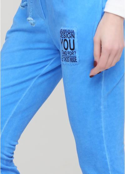 Штани Made in Italy завужені однотонні сині кежуали бавовна, трикотаж