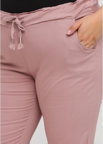 Розово-лиловые кэжуал летние зауженные брюки Moda Italia