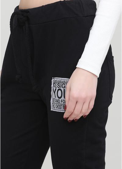 Штани Made in Italy завужені однотонні чорні кежуали бавовна, трикотаж