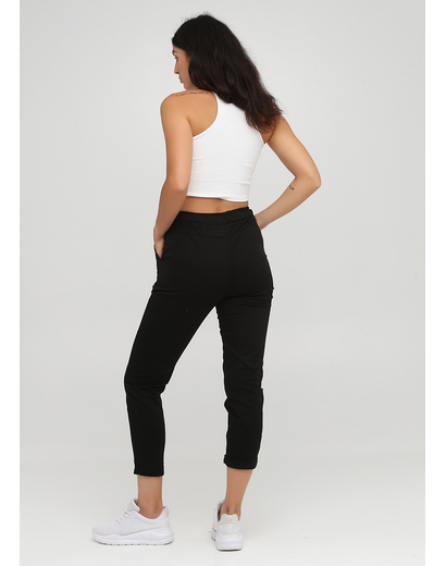 Черные кэжуал летние укороченные, зауженные брюки Moda Italia