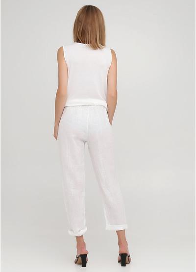 Белые кэжуал летние укороченные, зауженные брюки Made in Italy