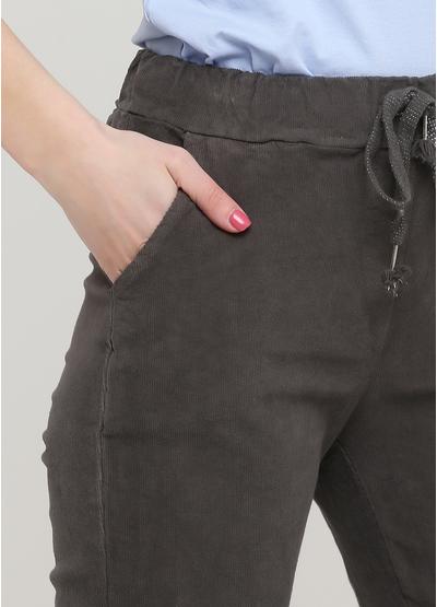 Штани Made in Italy завужені, вкорочені однотонні темно-сірі кежуали бавовна, вельвет