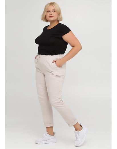 Светло-бежевые кэжуал летние зауженные брюки Moda Italia