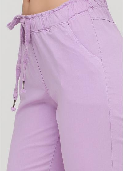 Сиреневые кэжуал летние укороченные, зауженные брюки Moda Italia
