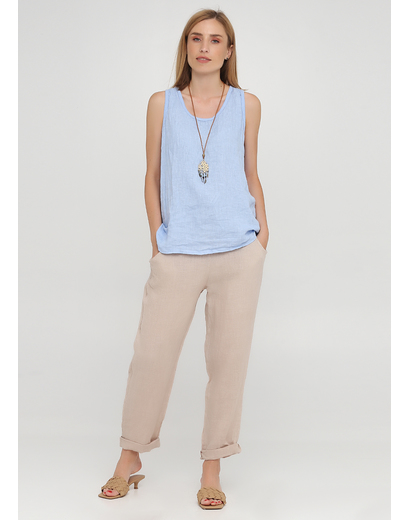 Бежевые кэжуал летние прямые, укороченные брюки Made in Italy