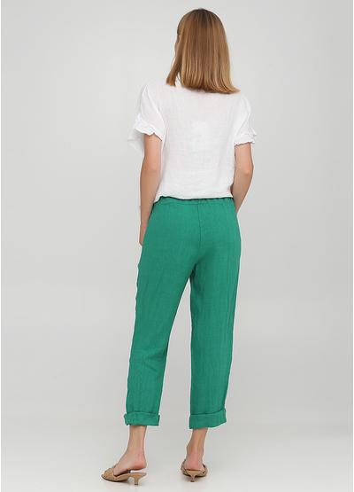 Зеленые кэжуал летние прямые брюки Made in Italy