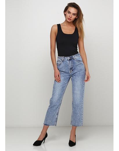 Голубые демисезонные прямые джинсы Miss BonBon