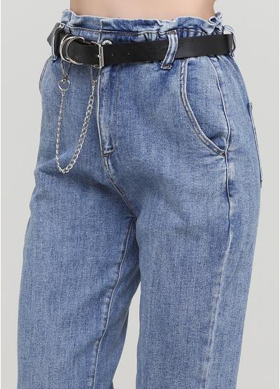 Джинси Water Jeans вкорочені однотонні темно-сині джинсові бавовна