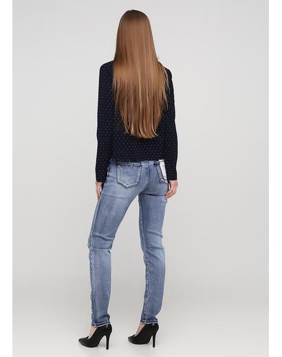 Джинси Miss BonBon завужені однотонні темно-блакитні джинсові бавовна