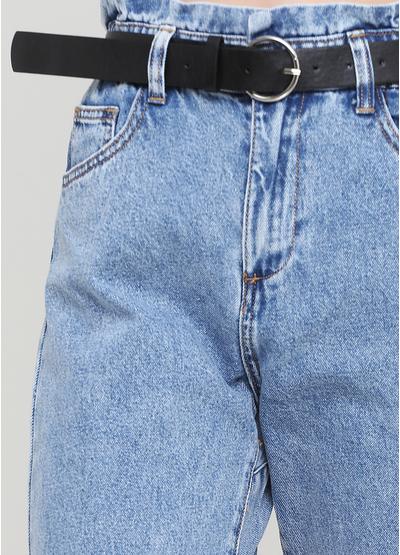 Джинси Miss BonBon вкорочені однотонні сині джинсові бавовна