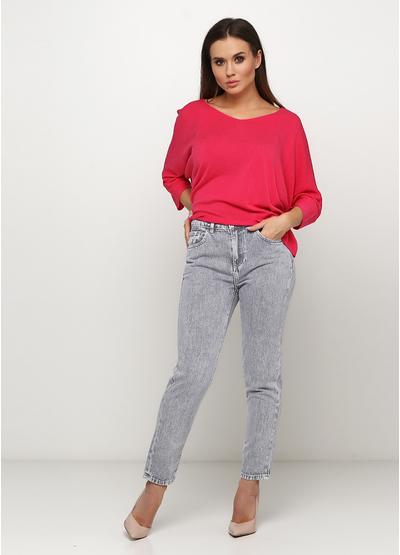 Серые демисезонные mom fit джинсы Miss BonBon