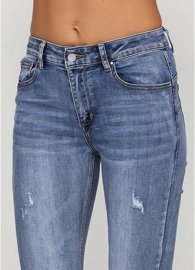 Голубые демисезонные скинни джинсы Miss BonBon