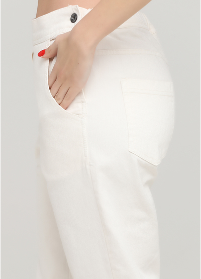 Джинси by clara Paris вкорочені, завужені однотонні молочні джинсові бавовна