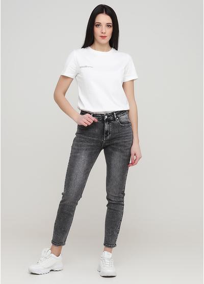 Джинси Miss BonBon завужені однотонні чорні джинсові бавовна
