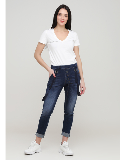 Джинси New Collection скінні однотонні темно-сині джинсові бавовна