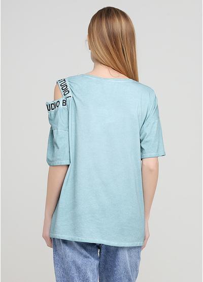 Світло-бірюзова літня футболка Made in Italy