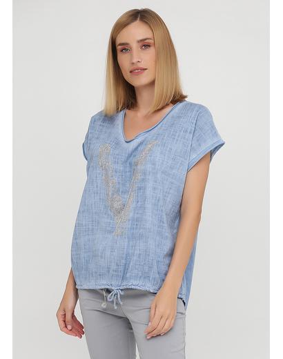 Светло-синяя летняя футболка Made in Italy
