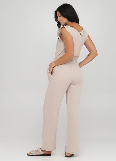 Комбинезон Made in Italy комбинезон-брюки однотонный бежевый кэжуал лен