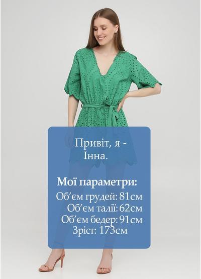 Комбинезон Onlys комбинезон-шорты однотонный зелёный кэжуал прошва, хлопок