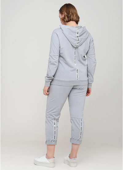 Костюм (худі, брюки) New Collection брючний однотонний сірий кежуал бавовна, трикотаж