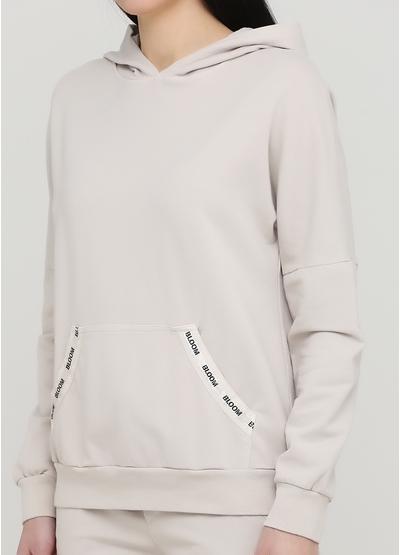 Костюм (худі, брюки) New Collection брючний однотонний бежевий кежуал бавовна, трикотаж