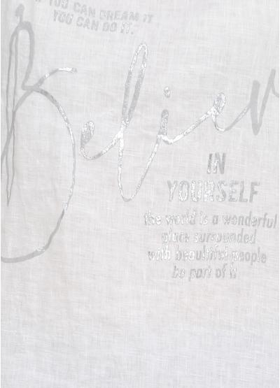 Майка New Collection надпись белая кэжуал трикотаж, хлопок, лен