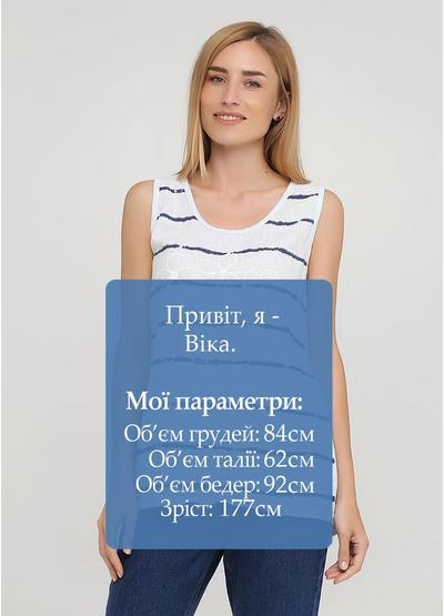 Майка Made in Italy полоска светло-голубая кэжуал трикотаж, лен, хлопок
