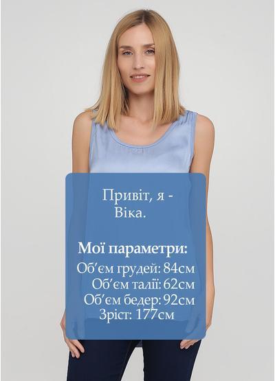 Майка New Collection однотонная голубая кэжуал вискоза, трикотаж