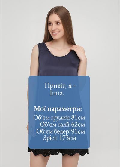 Майка New Collection однотонная серо-синяя кэжуал трикотаж, вискоза