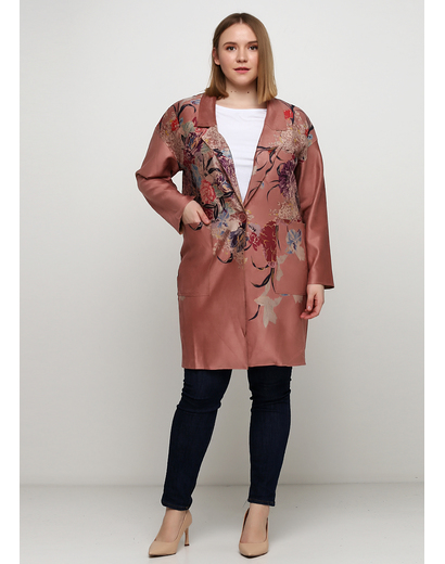Розово-коричневое демисезонное пальто однобортное Sweet Miss