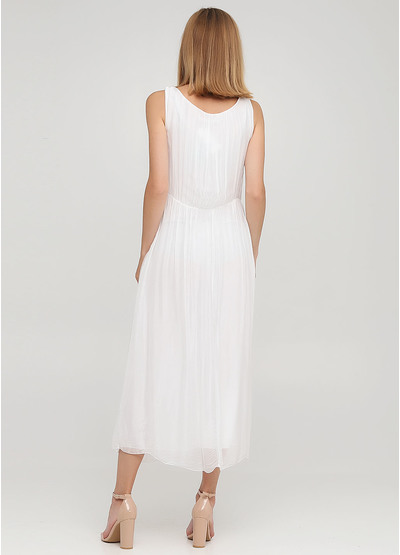 Белое кэжуал платье клеш Moda Italia однотонное