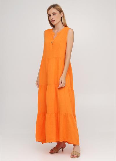 Оранжевое кэжуал платье а-силуэт Made in Italy однотонное