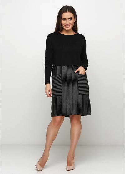 Черное платье а-силуэт Finery в полоску