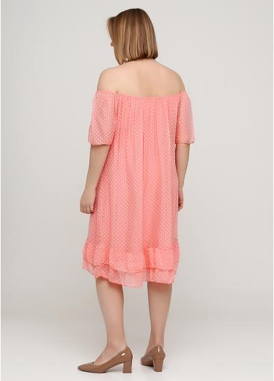 Коралловое платье с открытыми плечами Made in Italy в горошек