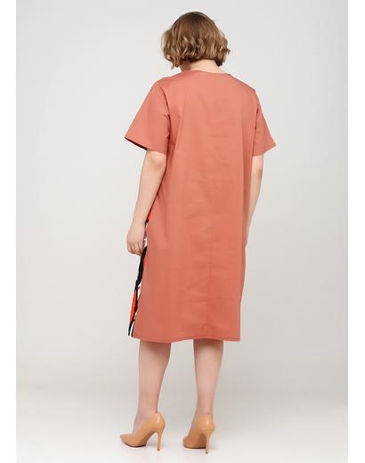 Світло-коричнева кежуал сукня оверсайз 159 С з абстрактним візерунком