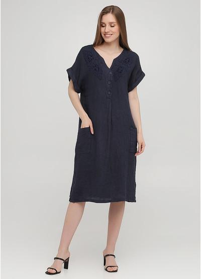 Темно-синее кэжуал платье оверсайз Made in Italy однотонное