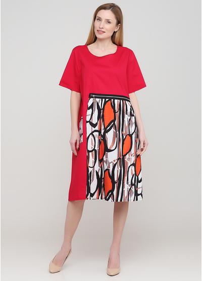 Малинова кежуал сукня оверсайз 159 С з абстрактним візерунком